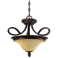 Golden Lighting Torbellino 2 Light Convertible Semi-Flush in Cordoban Bronze with Remolino Glass 8106-SF-CDB