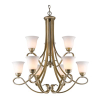 Torbellino 9 Light 34 inch White Gold Chandelier Ceiling Light, 2 Tier
