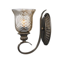Golden Lighting Alston Place 1 Light Wall Sconce in Burnt Sienna with Heirloom Crystal Glass 8118-1W-BUS
