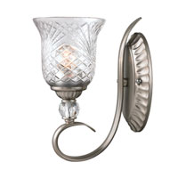 Golden Lighting Alston Place 1 Light Wall Sconce in Pewter with Iced Crystal Glass 8118-1W-PW