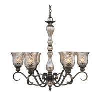 Golden Lighting Alston Place 6 Light Chandelier in Burnt Sienna with Heirloom Crystal Glass 8118-6-BUS
