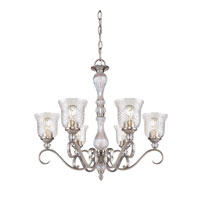 Golden Lighting Alston Place 6 Light Chandelier in Pewter with Iced Crystal Glass 8118-6-PW