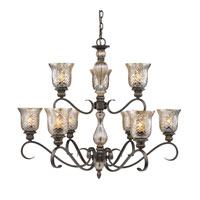 Golden Lighting Alston Place 9 Light Chandelier in Burnt Sienna with Heirloom Crystal Glass 8118-9-BUS