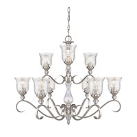 Golden Lighting Alston Place 9 Light Chandelier in Pewter with Iced Crystal Glass 8118-9-PW