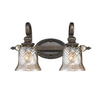 Golden Lighting Alston Place 2 Light Bath Fixture in Burnt Sienna with Heirloom Crystal Glass 8118-BA2-BUS