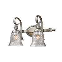 Golden Lighting Alston Place 2 Light Bath Fixture in Pewter with Iced Crystal Glass 8118-BA2-PW alternative photo thumbnail