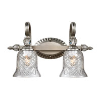 Golden Lighting Alston Place 2 Light Bath Fixture in Pewter with Iced Crystal Glass 8118-BA2-PW