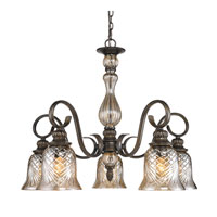 Golden Lighting Alston Place 5 Light Chandelier in Burnt Sienna with Heirloom Crystal Glass 8118-D5-BUS