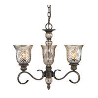 Golden Lighting Alston Place 3 Light Mini Chandelier in Burnt Sienna with Heirloom Crystal Glass 8118-M3-BUS