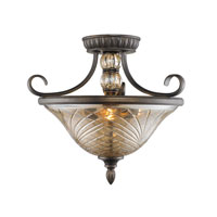 Alston Place 3 Light 16 inch Burnt Sienna Semi-Flush Ceiling Light in Heirloom Crystal Glass, Convertible