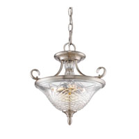 Golden Lighting Alston Place 3 Light Convertible Semi-Flush in Pewter with Iced Crystal Glass 8118-SF-PW