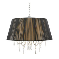 Golden Lighting Tetiva 5 Light Chandelier in Chrome with Black String Shade 8201-5-BLK