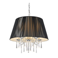 Golden Lighting Tetiva 5 Light Pendant in Chrome with Black String Shade 8201-5P-BLK