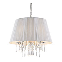 Golden Lighting Tetiva 5 Light Pendant in Chrome with Silver String Shade 8201-5P-SLV