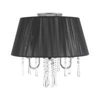 Golden Lighting Tetiva 3 Light Convertible Semi-Flush in Chrome with Black String Shade 8201-SF-BLK