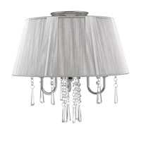 Golden Lighting Tetiva 3 Light Convertible Semi-Flush in Chrome with Silver String Shade 8201-SF-SLV