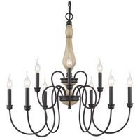 Golden Lighting 8314-9-NB Suzette 9 Light 30 inch Natural Black Chandelier Ceiling Light