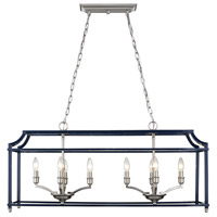 Golden Lighting 8401-LP-PW-NVY Leighton 8 Light 39 inch Pewter Linear Pendant Ceiling Light