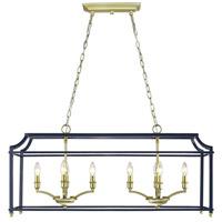 Golden Lighting 8401-LP-SB-NVY Leighton 8 Light 39 inch Satin Brass Linear Pendant Ceiling Light