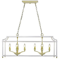 Leighton 8 Light 39 inch Satin Brass Linear Pendant Ceiling Light