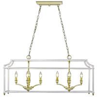 Golden Lighting 8401-LP-SB-WH Leighton 8 Light 39 inch Satin Brass Linear Pendant Ceiling Light
