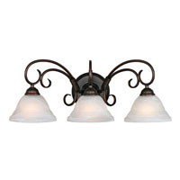 Golden Lighting Homestead Ridge 3 Light Bath Fixture in Rubbed Bronze with Ridged Marbled Glass 8505-3W-RBZ photo thumbnail