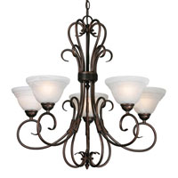 Golden Lighting Homestead Ridge 5 Light Chandelier in Rubbed Bronze with Ridged Marbled Glass 8505-5-RBZ photo thumbnail
