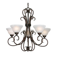 Golden Lighting Homestead Ridge 5 Light Chandelier in Rubbed Bronze with Ridged Marbled Glass 8505-5-RBZ alternative photo thumbnail