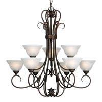 Golden Lighting Homestead Ridge 9 Light Chandelier in Rubbed Bronze with Ridged Marbled Glass 8505-9-RBZ photo thumbnail