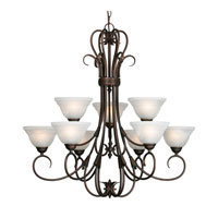 Golden Lighting Homestead Ridge 9 Light Chandelier in Rubbed Bronze with Ridged Marbled Glass 8505-9-RBZ alternative photo thumbnail