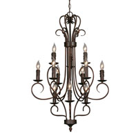 Golden Lighting Centennial 12 Light Chandelier in Rubbed Bronze with Drip Candlesticks 8512-RBZ