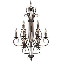 Multi-Family 12 Light 24 inch Rubbed Bronze Candelabra Chandelier Ceiling Light, 3 Tier
