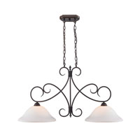 Golden Lighting Homestead 2 Light Island Light in Rubbed Bronze 8606-10-RBZ-OP