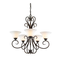 Homestead 5 Light 28 inch Rubbed Bronze Chandelier Ceiling Light in Opal Glass