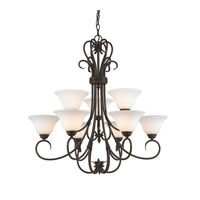 Homestead 9 Light 33 inch Rubbed Bronze Chandelier Ceiling Light in Opal Glass, 2 Tier