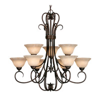 Homestead 9 Light 33 inch Rubbed Bronze Chandelier Ceiling Light in Tea Stone Glass, 2 Tier