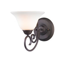 Homestead 1 Light 8 inch Rubbed Bronze Bath Vanity Wall Light in Opal Glass