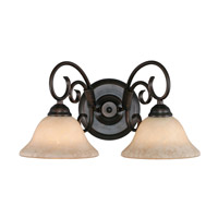 Homestead 2 Light 18 inch Rubbed Bronze Bath Vanity Wall Light in Tea Stone Glass
