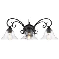 Golden Lighting 8606-BA3-BLK-CLR Homestead 3 Light 24 inch Black Bath Fixture Wall Light in Clear Glass