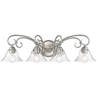 Golden Lighting 8606-BA4-PW-CLR Homestead 4 Light 32 inch Pewter Bath Fixture Wall Light in Clear Glass