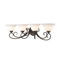 Homestead 4 Light 32 inch Rubbed Bronze Bath Vanity Wall Light in Opal Glass