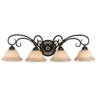 Golden Lighting 8606-BA4-RBZ-TEA Homestead 4 Light 32 inch Rubbed Bronze Bath Vanity Wall Light in Tea Stone Glass