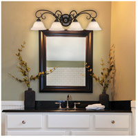 Golden Lighting 8606-BA4-RBZ-TEA Homestead 4 Light 32 inch Rubbed Bronze Bath Vanity Wall Light in Tea Stone Glass alternative photo thumbnail