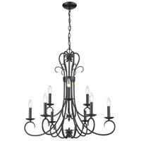 Golden Lighting 8606-CN9-BLK Homestead 9 Light 28 inch Black Chandelier Ceiling Light
