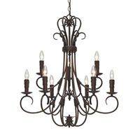 Golden Lighting Homestead 9 Light Chandelier in Rubbed Bronze with Drip Candlesticks 8606-CN9-RBZ