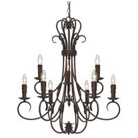 Homestead 9 Light 28 inch Rubbed Bronze Candelabra Chandelier Ceiling Light, 2 Tier