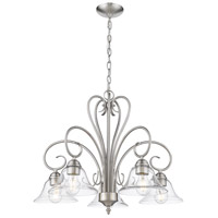 Golden Lighting 8606-D5-PW-CLR Homestead 5 Light 25 inch Pewter Chandelier Ceiling Light in Clear Glass