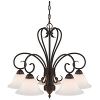 Homestead 5 Light 25 inch Rubbed Bronze Mini Chandelier Ceiling Light in Opal Glass