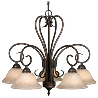 Golden Lighting Homestead 5 Light Mini Chandelier in Rubbed Bronze 8606-D5-RBZ-TEA