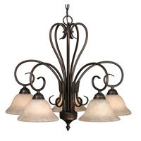 Golden Lighting Homestead 5 Light Chandelier in Rubbed Bronze 8606-D5-RBZ-TEA
